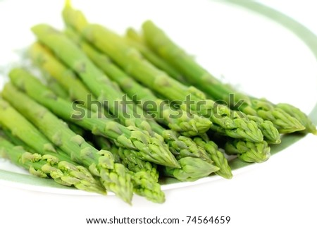 Steamed asparagus - stock photo