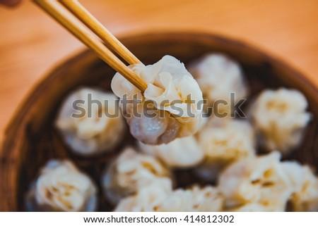 Steamed dumplings - stock photo