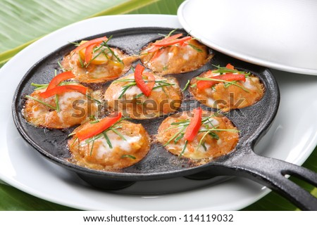 Steamed fish with curry paste Thai Food - stock photo