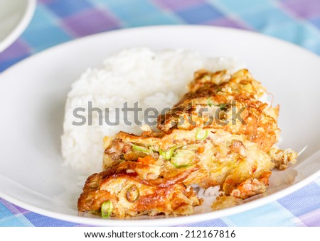 Steamed pork omelet served on a plate. - stock photo