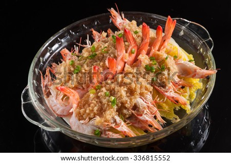 Steamed prawns with garlic and Chinese Cabbage - stock photo