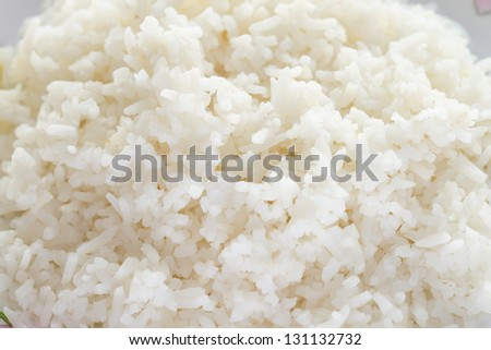 Steamed rice closed up on the dish - stock photo