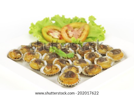 Steamed scallop on white background - stock photo