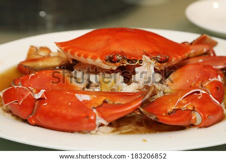 steamed sea crab on the plate - stock photo