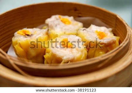 Steamed shrimp dumplings dim sum - stock photo