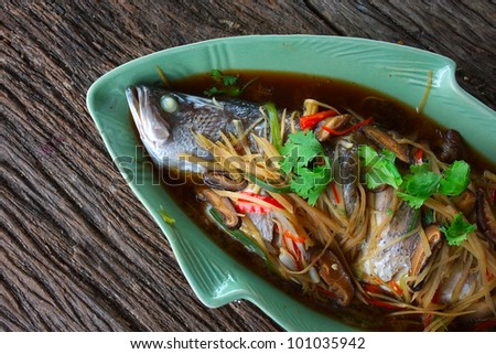steamed snapper with soy sauce - stock photo