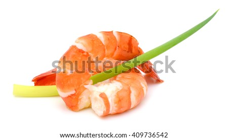 Steamed tiger shrimp isolated on white background