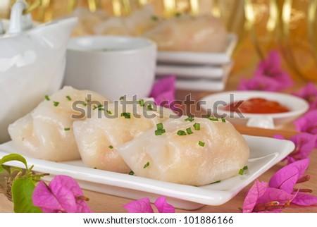 Steamed Vegetable Dumpling. Unsharpened file - stock photo