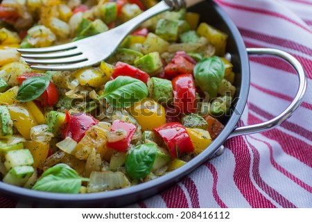steamed vegetables - zucchini, bell peppers, onions, garlic and basil