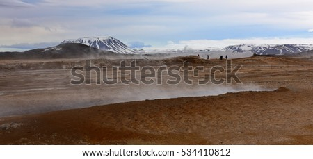 Steaming ground from geothermal activities in Namaskard, Iceland