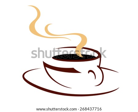 Steaming hot cup of aromatic coffee, doodle sketch icon in shades of brown on white for fast food design - stock photo