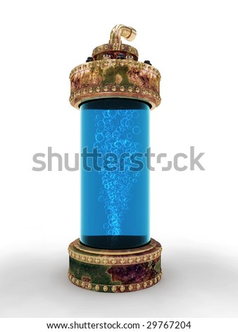 Steampunk aged copper laboratory bottle for experiments isolated on white background. Clipping path included - stock photo