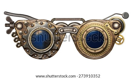 Steampunk goggles. Metal collage. - stock photo