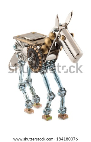 Steampunk horse. Cyberpunk style. Isolated on white. - stock photo