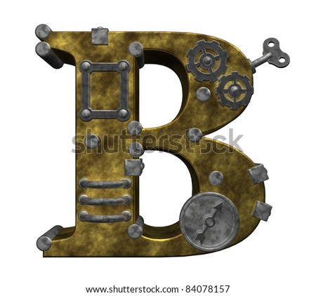 steampunk letter b on white background - 3d illustration - stock photo