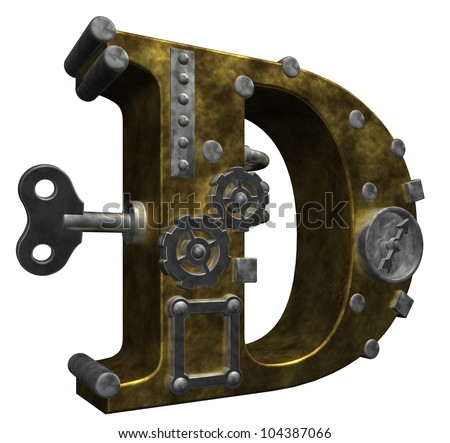 steampunk letter d on white background - 3d illustration - stock photo