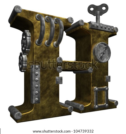 steampunk letter h on white background - 3d illustration - stock photo