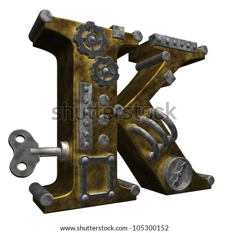 steampunk letter k on white background - 3d illustration - stock photo