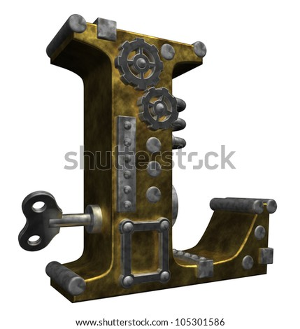 steampunk letter l on white background - 3d illustration - stock photo