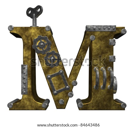 steampunk letter m on white background - 3d illustration - stock photo