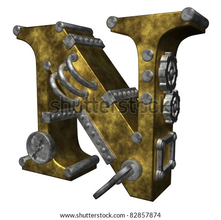 steampunk letter n on white background - 3d illustration - stock photo