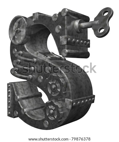 steampunk letter s on white background - 3d illustration - stock photo