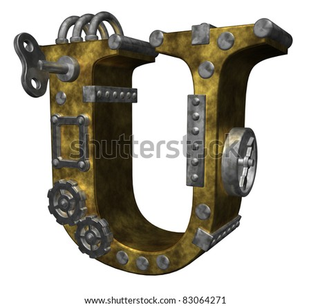 steampunk letter u on white background - 3d illustration - stock photo