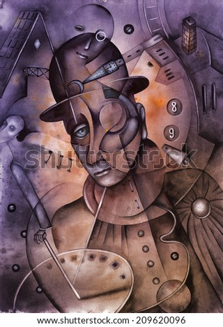 Steampunk Man Illustration - stock photo