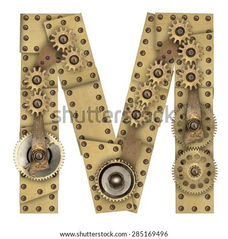 Steampunk mechanical metal alphabet letter M. Photo compilation - stock photo