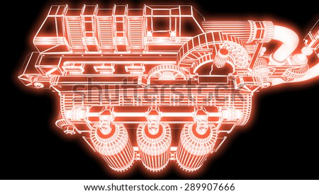steampunk mechanism red grid on black background - stock photo