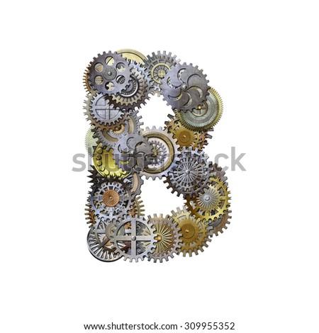 steampunk metallic gears font, letter b - stock photo