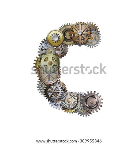 steampunk metallic gears font, letter c - stock photo