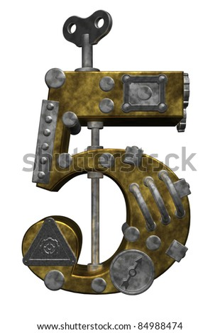 steampunk number five on white background - 3d illustration - stock photo