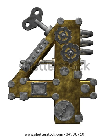 steampunk number four on white background - 3d illustration