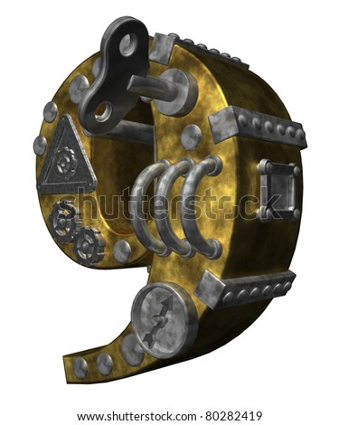steampunk number nine on white background - 3d illustration