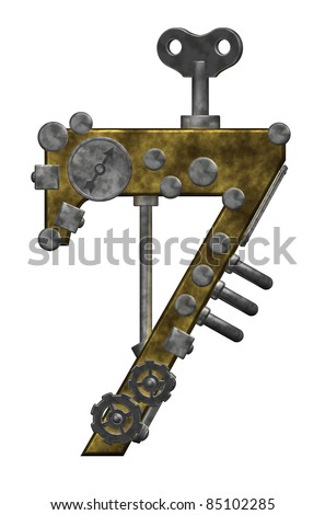 steampunk number seven on white background - 3d illustration