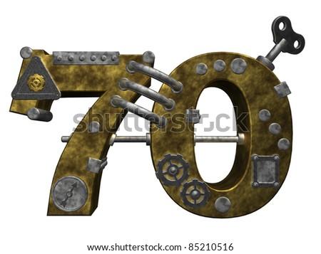steampunk number seventy on white background - 3d illustration - stock photo