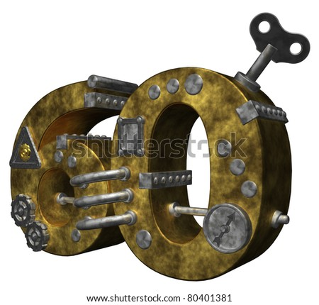steampunk number sixty on white background - 3d illustration - stock photo