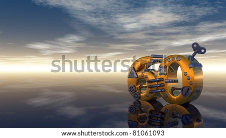 steampunk number sixty under blue sky - 3d illustration - stock photo