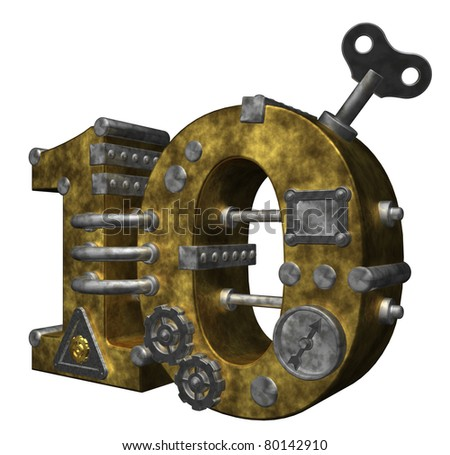 steampunk number ten on white background - 3d illustration - stock photo