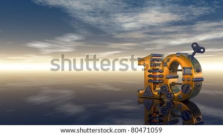 steampunk number ten under blue sky - 3d illustration - stock photo