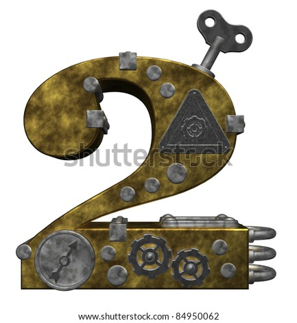 steampunk number two on white background - 3d illustration - stock photo