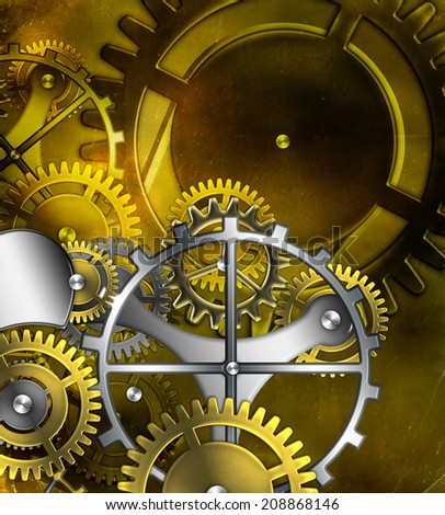 steampunk old gear mechanism on the background of old vintage parchment - stock photo