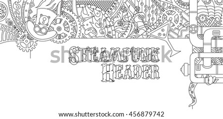 Steampunk outline doodle header design with various steampunk objects and symbols, pilot hat, cocktail, gears, tubes - stock photo