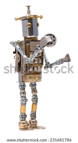 Steampunk robot holding bearing. Cyberpunk style. Chrome and bronze parts. - stock photo