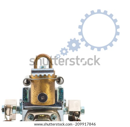 Steampunk robot thinking. Speech dialog. Chrome and bronze parts.  - stock photo