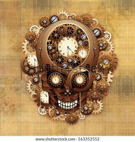 Steampunk Skull Vintage Style - stock photo