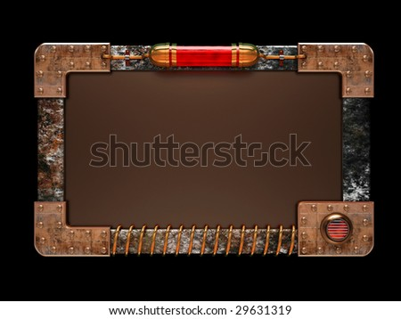 Steampunk style ad board isolated on black background. Excellent material for web-design. Clipping path included. - stock photo