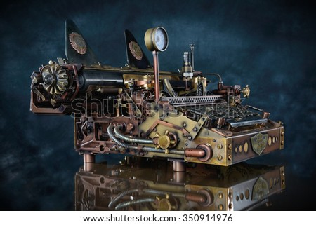 Steampunk style future Typewriter. Hand/home made model. - stock photo