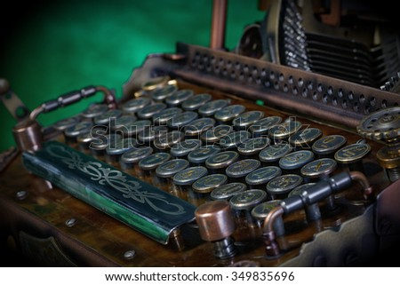 Steampunk style future Typewriter. Hand/home made model.  Russian pre-reform font. (before 1918) - stock photo